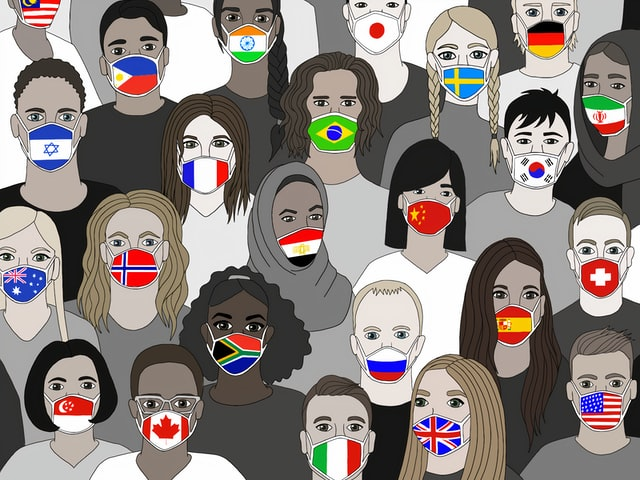 groep mensen met mondkapjes met landenvlag erop
